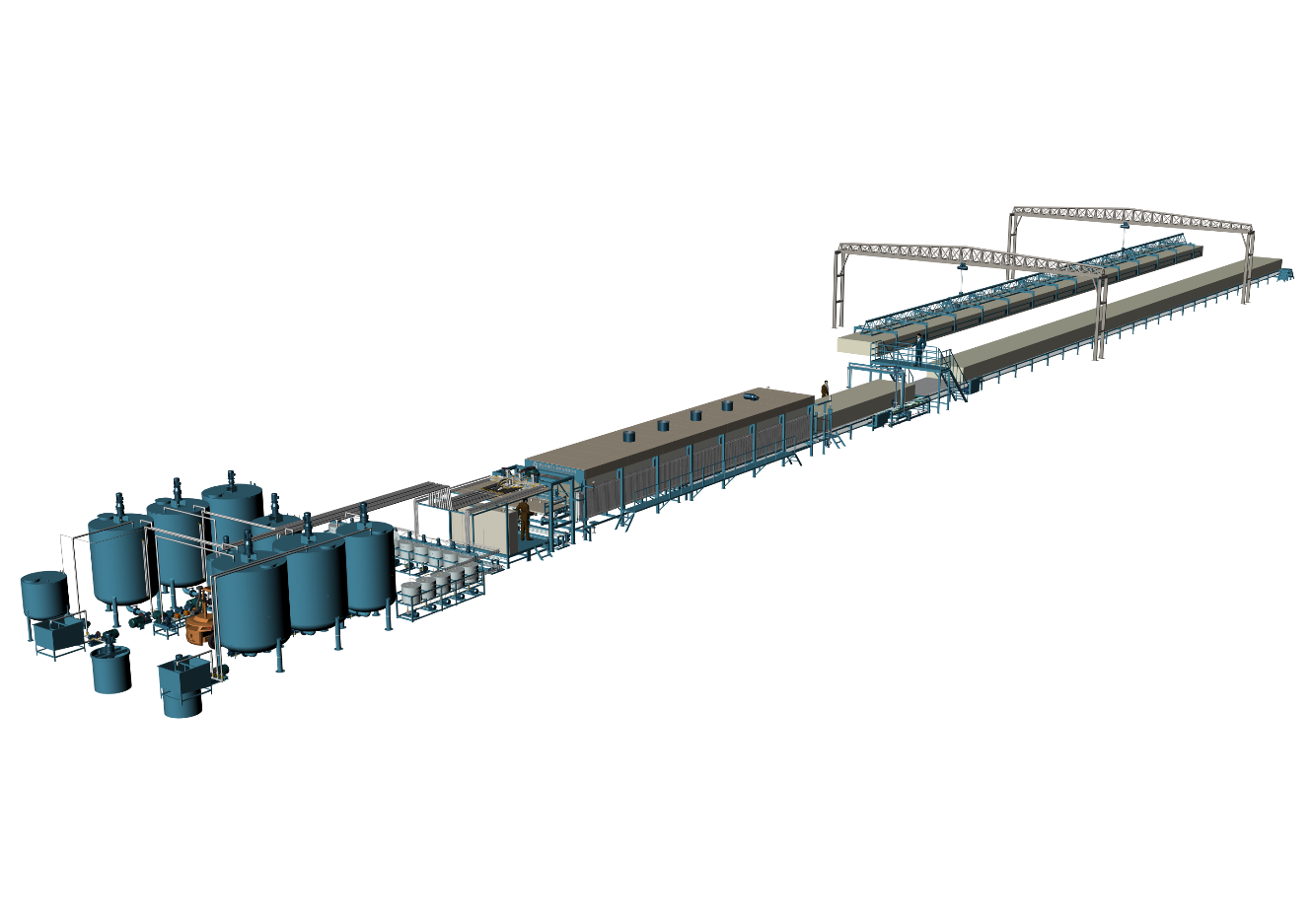 Light Blue Color Of Horizontal Automatic Continously Foaming Machine